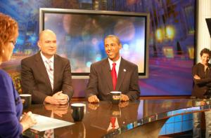 "Lenny McAllister chats with host Joy Behar and Democratic strategist Christopher Hahn on the set of ""Say Anything"" (December 4, 2012) (photo courtesy Current TV)"