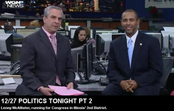 "Republican congressional candidate Lenny McAllister (IL-2nd) talks with CLTV's Paul Lisnek on an edition of ""Politics Tonight"" to discuss his candidacy."