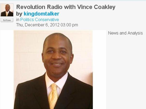 "Catch Lenny McAllister's interview concerning his candidacy for Illinois' 2nd Congressional District on ""Revolution Radio"" with host Vince Coakley (seen above) earlier in December"