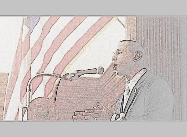Lenny speaking at MCAPP #3 (pencil sketch) (April 13 2013)