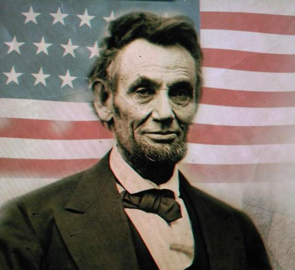 Abe Lincoln with Flag